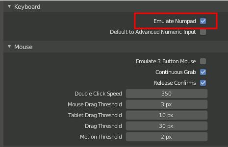 Emulate Numpad - Blender 2.8