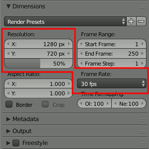 Dimensions & Frame Rate