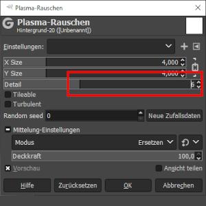 Plasma-Rauschen Settings