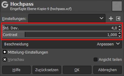 Hochpassfilter Gimp 2.10.x