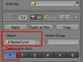 Blender Curve Modifier Settings