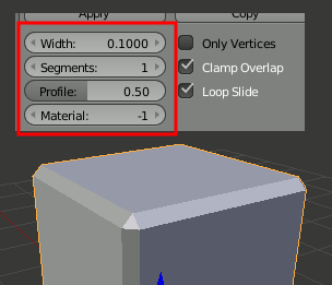 Blender Bevel Settings