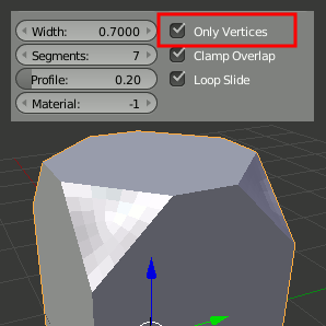 Bevel Only Vertices