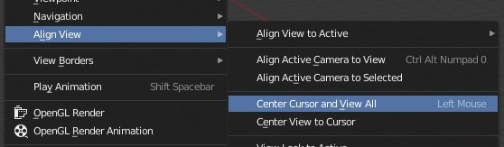 Blender 2.8 Center Cursor and view all