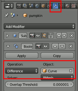 Blender Boolean Settings