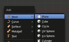 Blender add Plane (SHIFT-A)