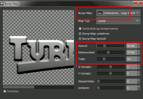 Gimp Chrome Font with Bumpmap Step 15