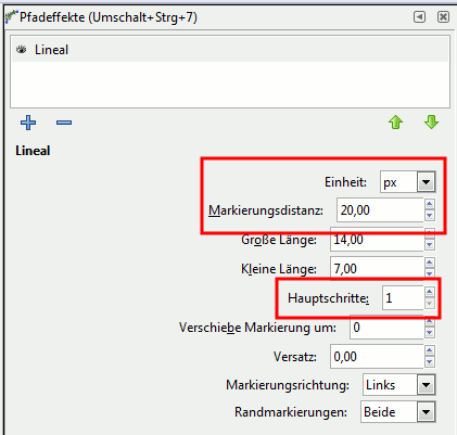 Inkscape Patheffect Ruler Settings