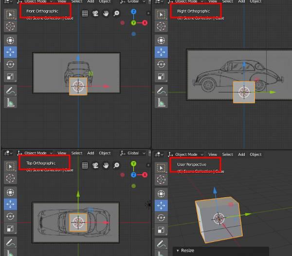 Blender 2.8 Blueprint Modeling