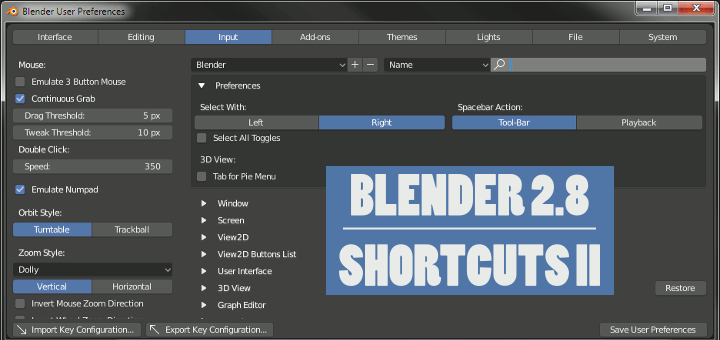 Blender 2.8 Shortcuts User Preferences