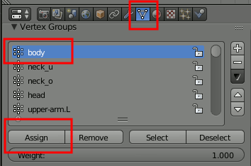 Blender Vertex Group