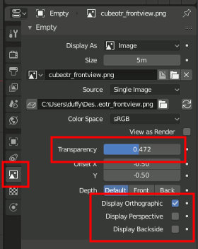 Blender 2.8 Empty-Image Settings