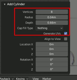Blender 2.8 Cylinder Settings