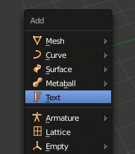 Blender add Text