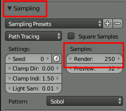 Blender Sampling und Samples