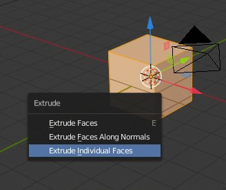 Blender 2.8 Extrude Individual Faces