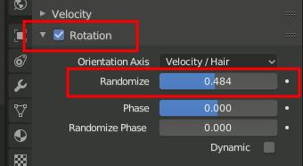 Particle Rotation Randomize