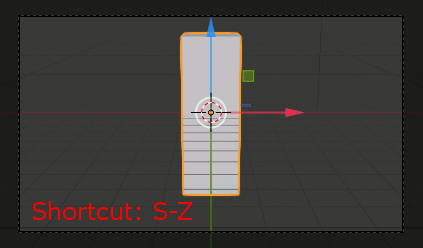 Blender 2.8 scale with Shortcut S-Z