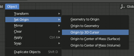 Set Origin to 3D Cursor