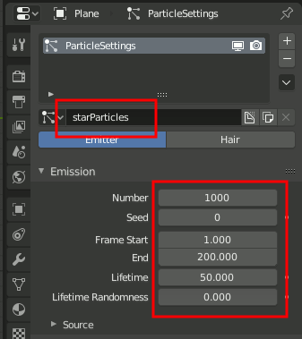 Blender Standard ParticleSettings