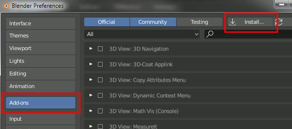 Blender 2.8 Addon Install
