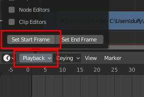 Blender 2.8 - Set Start Frame