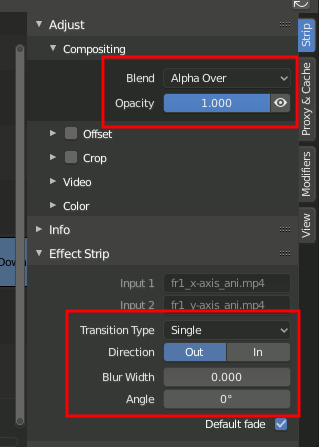 Wipe - Type, Direction, Blur, Angle