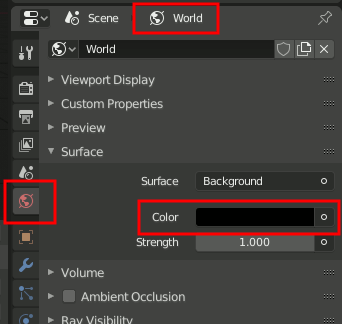 Blender 2.8 World Settings