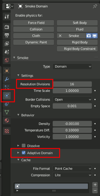 Blender Smoke Domain Settings