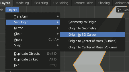 Blender 2.8 Set Origin