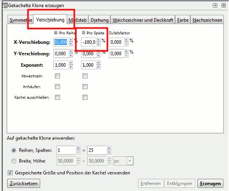 Inkscape Verschiebung -100%