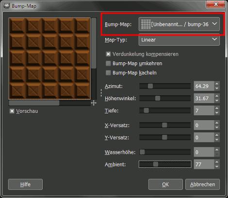 Gimp Bump Map Filter