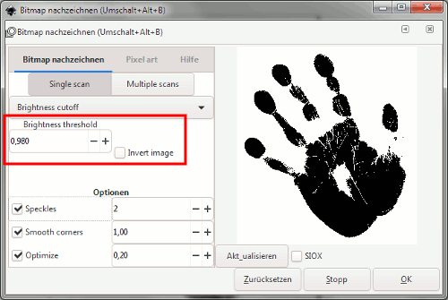 Trace Settings (Inkscape 1.0 Ansicht)
