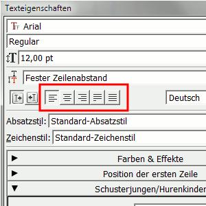 Texteigenschaften für Seitenzahl