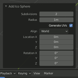 Ico Sphere Settings