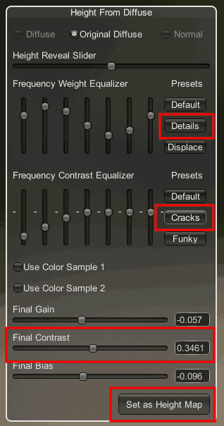 Height Map Settings