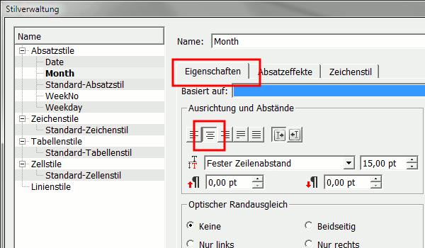 Eigenschaften - Text zentrieren