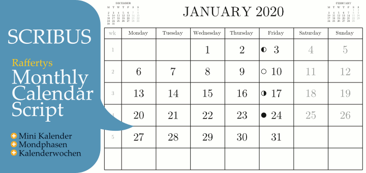 Raffertys Monthly Calendar Script