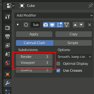 Subdivision Surface Settings