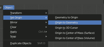 Object - Set Origin - Origin to