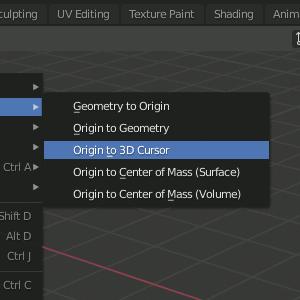 Object - Set Origin - Origin to 3D Cursor
