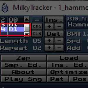 Track 4 auf Pattern 01 einstellen