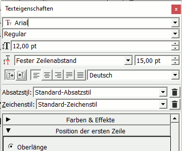 Textfeld - Texteigenschaften