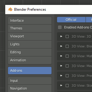 Preferences - Add-ons